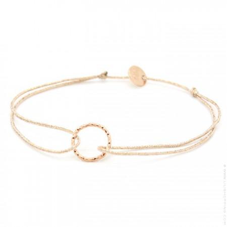 Pink gold platted hammered ring on a lurex Bracelet