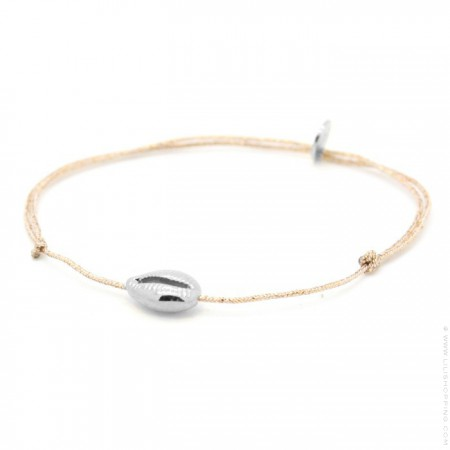 Silver seashell on a lurex Bracelet