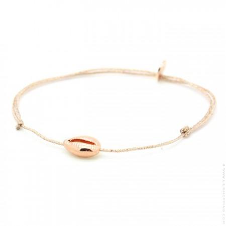 Bracelet lurex et cauri plaqué or rose