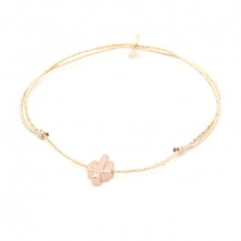 Bracelet lurex et cactus plaqué or rose