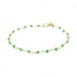 Bracelet India plaqué or et jades vertes