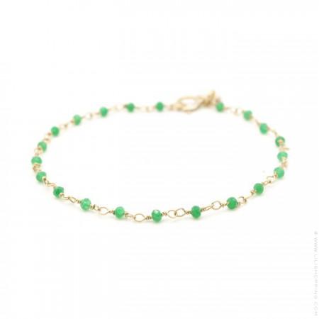 Bracelet India plaqué or et émeraudes vertes