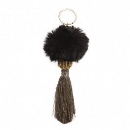 Fluffy black bag charm - keychain