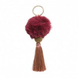 Bijou de sac - porte clé Hipanema Fluffy burgundy