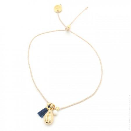 Bracelet Charms cauri plaqué or et pompon marine