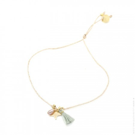 Bracelet Charms étoile plaquée or et pompon vert