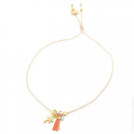 Bracelet Charms palmier plaqué or et pompon orange