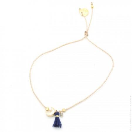 Bracelet Charms croissant de lune plaqué or et pompon bleu marine
