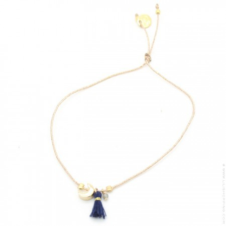 Crescent moon charms gold plated bracelet with a navy blue pompon
