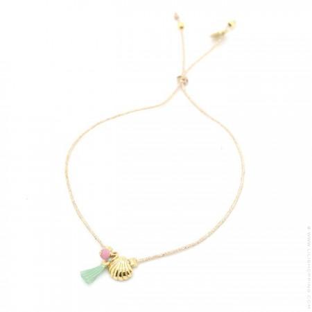 Bracelet Charms coquillage plaqué or et pompon vert