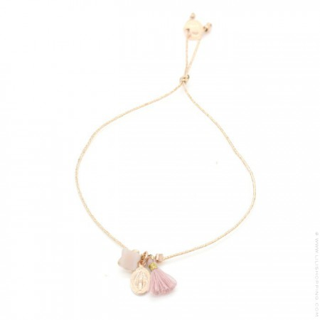 Bracelet Charms Madone plaqué or rose et pompon rose