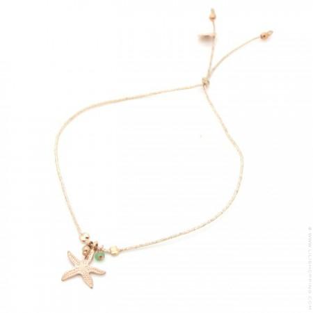 Bracelet Charms étoile de mer plaquée or rose