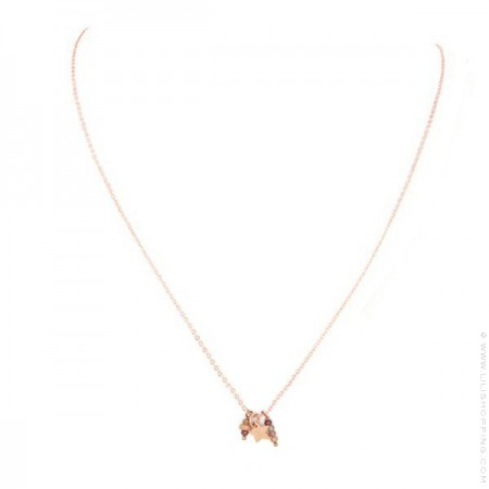 Pink Gold Plated Lea star Necklace
