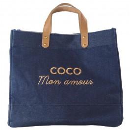 Sac cabas Le Mademoiselle denim Coco mon amour gold