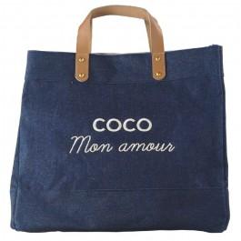 Sac cabas Le Mademoiselle denim Coco mon amour blanc