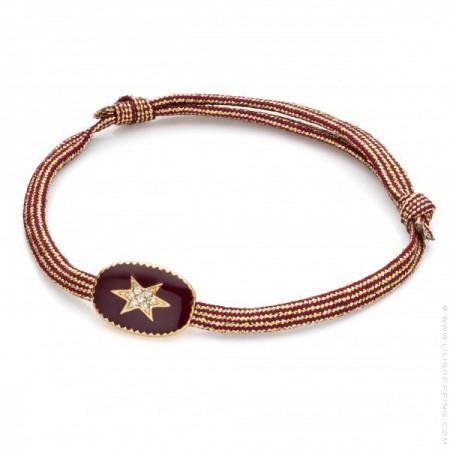 Redwine enamelled north star bracelet