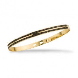 Bracelet 2 lignes laquées perlées noir