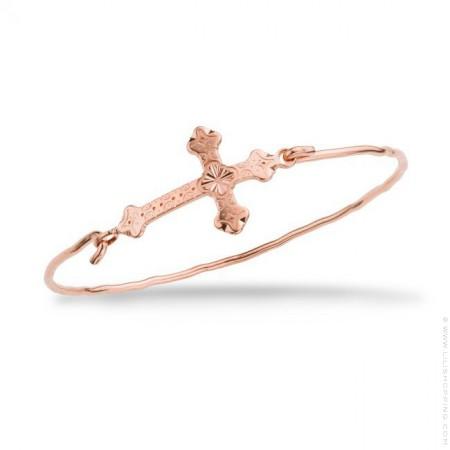 Bracelet Croix Barcelona plaqué or rose