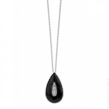 Black enamelled Capri Silver platted necklace