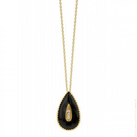 Collier Capri plaqué or émaillée noir