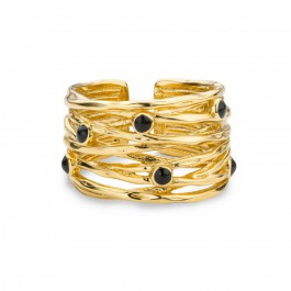 Black stones Hoops Gold Plated Ring