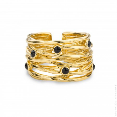 Black stones Jungle Gold Plated Ring
