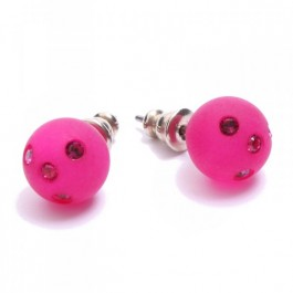 Fushia strassed Zoe Bonbon resin earrings