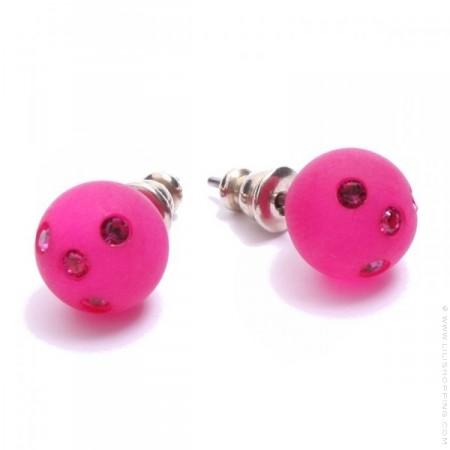 Fushia strassed Zoe Bonbon resin earrings