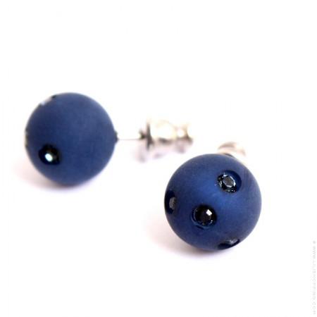 Navy blue strassed Zoe Bonbon resin earrings