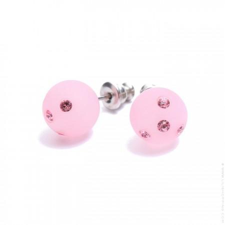 Boucles d'oreilles à strass rose