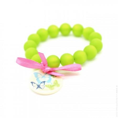 Bracelet enfant papillons verts
