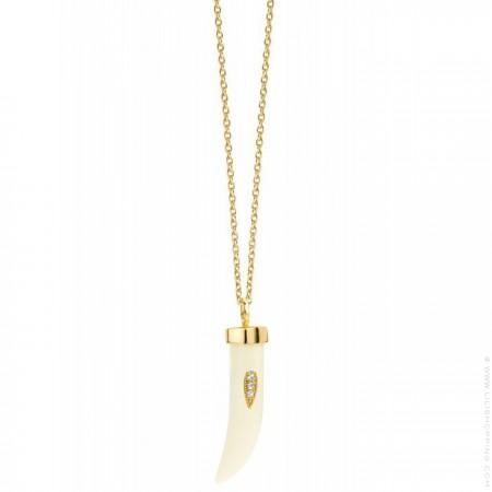 Collier Kenya plaqué or émaillée ivoire