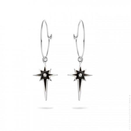 Boucles d'oreilles Comète émail noir plaquées argent