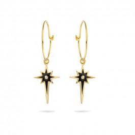 Boucles d'oreilles Comète émail noir plaquées or