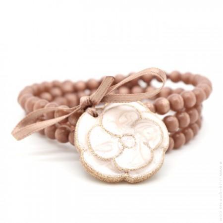 Bracelet / collier camélia bois de rose doré