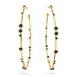 Black stones Hoops gold platted earrings