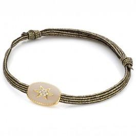 Bracelet étoile du nord émaillée bordeaux