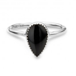 Black enamelled Bangaram silver Plated Ring