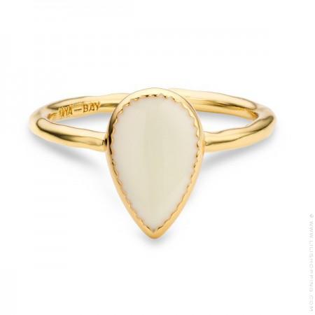 Ivory enamelled Bangaram gold Plated Ring