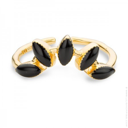 Black enamelled La Barbade gold Plated Ring