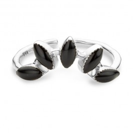 Black enamelled La Barbade silver Plated Ring
