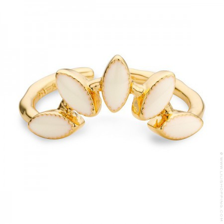 Ivory enamelled La Barbade gold Plated Ring
