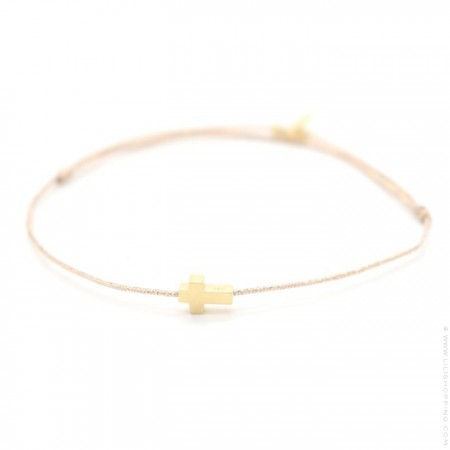 Gold platted Cross Lurex Cord Bracelet