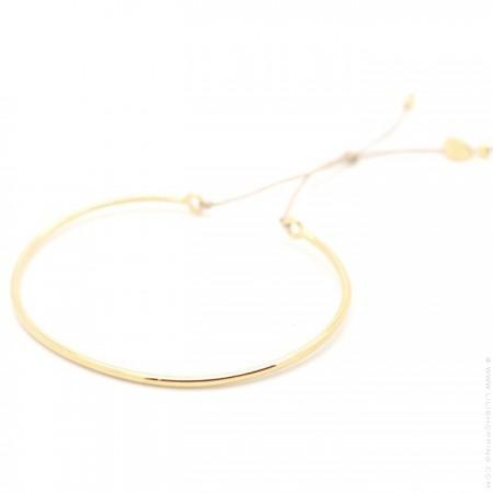 Bracelet jonc plaqué or sur lien lurex