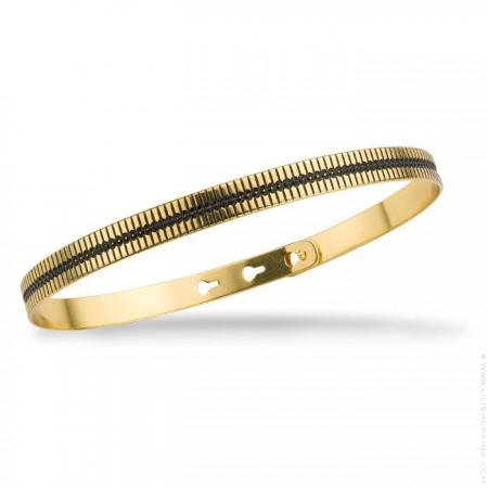 Rani black enamelled gold platted bracelet