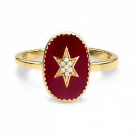 Bordeaux enamelled north star gold Plated Ring