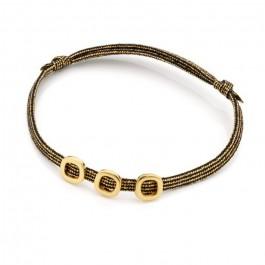 Bracelet triple carrés ajourés plaqués or