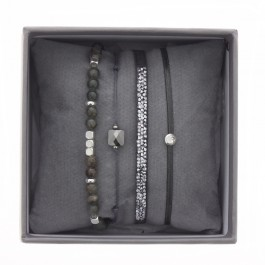 Dark grey ultra fine rocks bracelets