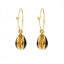 Black enamelled North star gold platted earrings