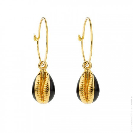 Black enamelled cauris gold platted earrings